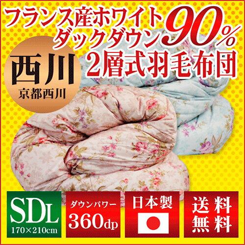 【京都西川】羽毛布団(フランス産ホワイトダックダウン90%)セミダブルロング