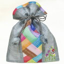 韓国ポーチ 刺繍入りチョガッポ巾着グレー(中)■porch-84-s【ギフト】【お土産】【引き出物】