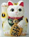 招猫白小判右手6号(千万両)約18.5cm(Y-2622)昔ながらの「まねきねこ」です♪