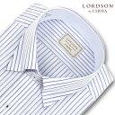 LORDSON by CHOYA 長袖 ワイシャツ メンズ 春夏秋 形態安定加工 吸水速乾 パープルとブルーのストライプ スナップダウンシャツ|綿:100% パープル ブルー(COD118-465) (200613s)(200904ssd)