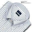 CHOYA SHIRT FACTORY 日清紡アポロコット 長袖 ワイシャツ メンズ 綿100% 形態安定加工 ブルーストライプ スナップダウンシャツ | 高..