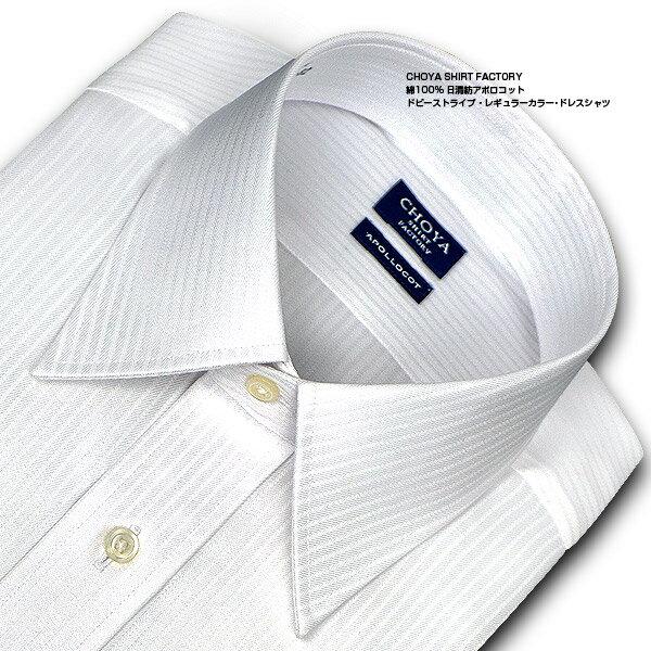 ★新商品★【日清紡アポロコット】NEWサイズ長袖・ドビーストライプ・レギュラーカラー・ドレスシャツ綿100%・形態安定・CHOYAシャツ(cfd910-200) 楽天カード分割