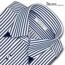 【SHIRT MAKER CHOYA】長袖・日本製生地・形態安定加工・標準体ロンドンストライプ・スナップダウン・ドレスシャツ -SMC-(ビジネスシャツ/ワイシャツ/百貨店/メンズ)(cmd812-455)