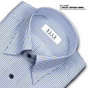 ELLE HOMME 長袖 ワイシャツ スナップダウンシャツ メンズ TC 形態安定加工 静電気軽減素材 超軽量素材 ゆったり ブルーストライプ ネ..