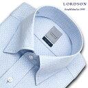 LORDSON 長袖 ワイシャツ メンズ 春夏秋冬 形態安定加工 ブルー幾何ドビー スナップダウンシャツ|綿:100% ブルー(zod398-250)(sa1)