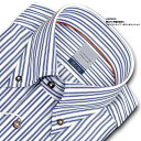 【LORDSON】長袖 綿100% 形態安定加工 吸水速乾 標準体ブルーストライプ・ボタンダウンシャツ(ドレスシャツ/ビジネスシャツ/ワイシャツ/Yシャツ/百貨店/メンズ)(zod114-455)