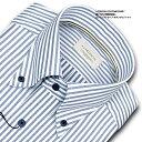 LORDSON CONTEMPORARY綿100% 形態安定加工 標準体ロンドンストライプ・ボタンダウン・ドレスシャツ(zod323-455)