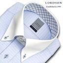 LORDSON 長袖 ワイシャツ メンズ 春夏秋冬 形態安定加工 ブルーのクレストドビー クレリック ボタンダウンシャツ|綿:100%(zod392-250)