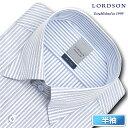 LORDSON 半袖 ワイシャツ メンズ 夏 形態安定加工 ブルー系ストライプ スナップダウン ドレスシャツ|綿:100% ブルー(zon610-450)(sa1)