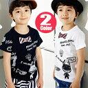 2カラーの落書き半袖Tシャツ・フェイクリボンプリントTシャツ【子供服 キッズ 韓国子供服 子ども服