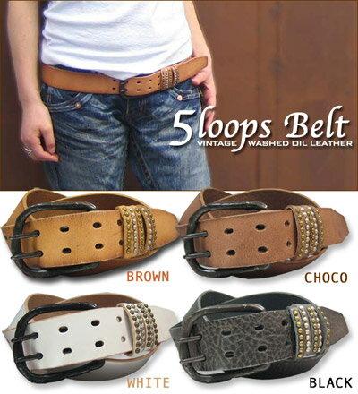 [] 5 Loop ☆ vintage cowhide leather belt!