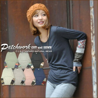 Patchwork sleeves switching ★ クルーカットソー