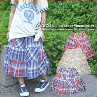W gauze ★ check reshuffling tiered skirt♪