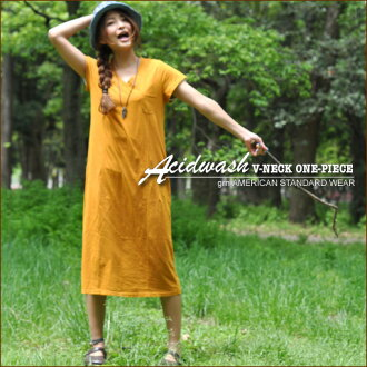 SALE アシッドウォッシュ machining ★ V neck short sleeve one piece!