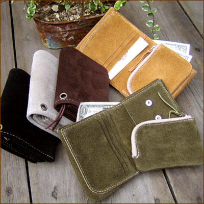 COW LEATHER Suede Wallet * 2-WAY STYLE suede ☆ 2WAY wallet