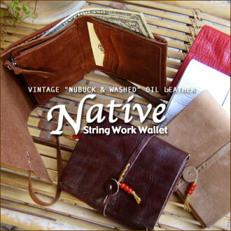 """NUBUCK & WASHED"" VINTAGE OIL LEATHER = NATIVE = STRING WORK WALLET native ☆ ストリングワークウォレット == RED BEADS"