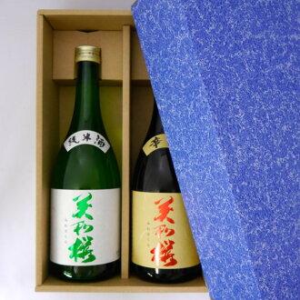 2瓶 美和櫻日本酒,純米酒和辛口 720ml(禮盒套裝)