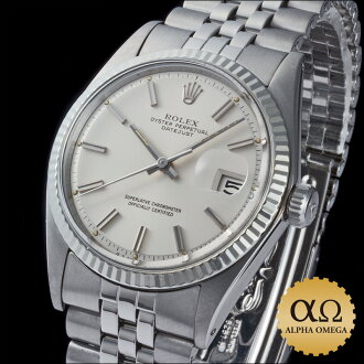 Rolex date just Ref.1601 SS white gold bezel silver dial 1972