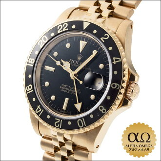 Rolex GMT master Ref.16758 yellow gold black nipple (rock barnacle) dial 1984