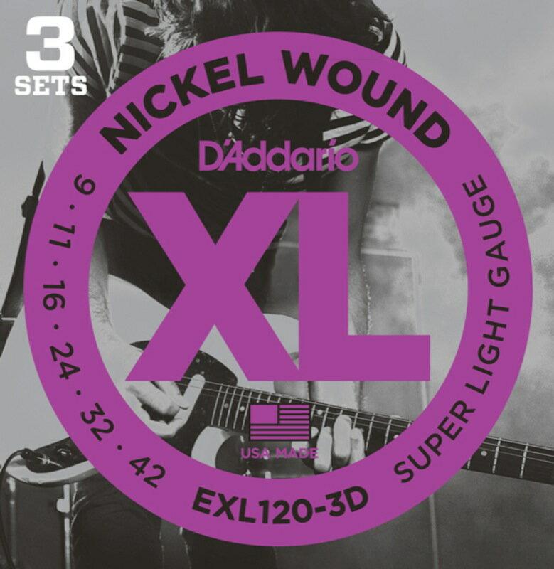D'Addario EXL120-3 D일렉트릭 기타현다다이즘 리오 일렉트릭 기타현 유익한 3 세트 팩09-42 fs3gm