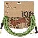 Fender 10' Angled Festival Instrument Cable Pure Hemp Green SL ギターケーブル