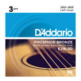 D#039;Addario EJ16-3D 木吉他弦/3套包DadaRio 3套进入1个包装的实惠的吉他弦[D'Addario EJ16-3D アコースティックギター弦/3セットパック ダダリオ 3セットが1つのパッケージに入ったお得なギター弦]