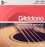 D#039;Addario EJ17-3D 木吉他弦/3套包DadaRio 3套进入1个包装的实惠的吉他弦[D''Addario EJ17-3D アコースティックギター弦/3セットパック]