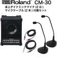ROLAND CM-30 ポータブルミキシングモニター 卓上ダイナミックマイク(2本) マイクケーブル(2本) 簡易PA 4点セット