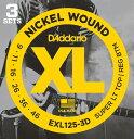 D'Addario EXL125-3D エレキギター弦 3セットパック×2SET