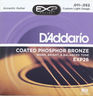 D ' 阿黛瑞爾 EXP26 鍍膜磷青銅自訂光 x 5 設置聲學吉他弦
