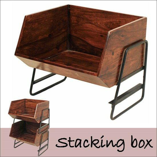 送料無料 木製スタッキングボックス(シーシャムウッド)スタッキング アイアン インド シーシャムウッド 木製 天然木 ヴィンテージ ビンテージ カントリー レトロ お洒落 05P05Nov16