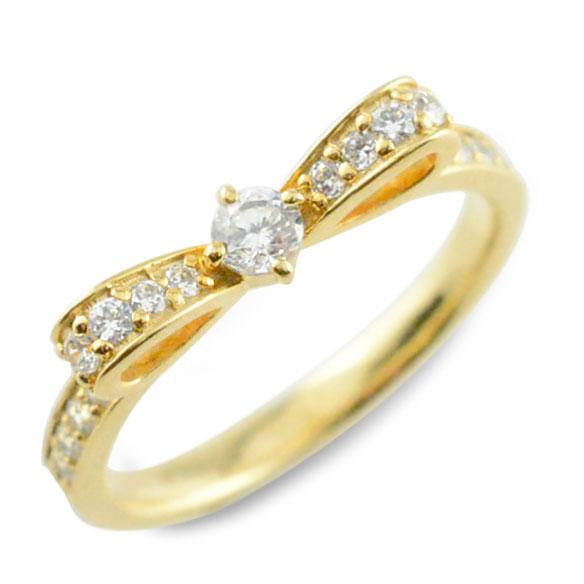 【送料無料】婚約指輪 エンゲージリング 結婚指輪 ピンキーリング リボンリング ダイヤモンドエンゲージリング リボン ダイヤモンドリング  指輪 ダイヤモンド イエローゴールドk18 ダイヤ レディース【_包装】0824カード分割 リボン ピンキーリング リボンモチーフ