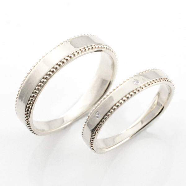 【送料無料】ペアリング マリッジリング ミル打ち 平ウチ シルバー キュービック  記念日 レディース メンズ 指輪 婚約指輪 エンゲージリング 結婚指輪 ブライダル【_包装】0824カード分割 結婚指輪 ペアリング マリッジリング 送料無料