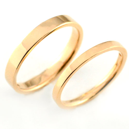 【送料無料】ペアリング マリッジリング 18k 平ウチ ピンクゴールド K18 記念日  指輪  婚約指輪 石なし エンゲージリング 結婚指輪【_包装】0824カード分割 結婚指輪 ペアリング マリッジリング 送料無料