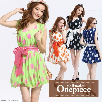 Mini-dress miniskirt balloon skirt balloon one piece waist ribbon zp360052 which is pretty even if Mini One peace dot pattern waterdrop F chiffon waist ribbon takes it