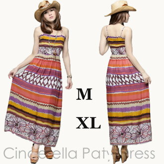 In the spring and summer one piece jk22039 for maxiskirt length one piece big size ethnic casual long skirt M XL one piece