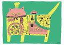 【取寄品】【送料無料】see saw. カフェ風インテリア パネルフレーム ピザキャット キャンバス イラストレーター 300×420mm お洒落インテリア通販