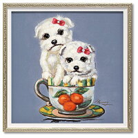 アートポスター 額付 動物画 オイル ペイント アート ツーパピーインカップ S ユーパワー 33×33cm 可愛い 犬 インテリア グッズ 通販 【取寄品】 【送料無料】シネマコレクション【ママ割 登録 エントリー3倍】2/28まで