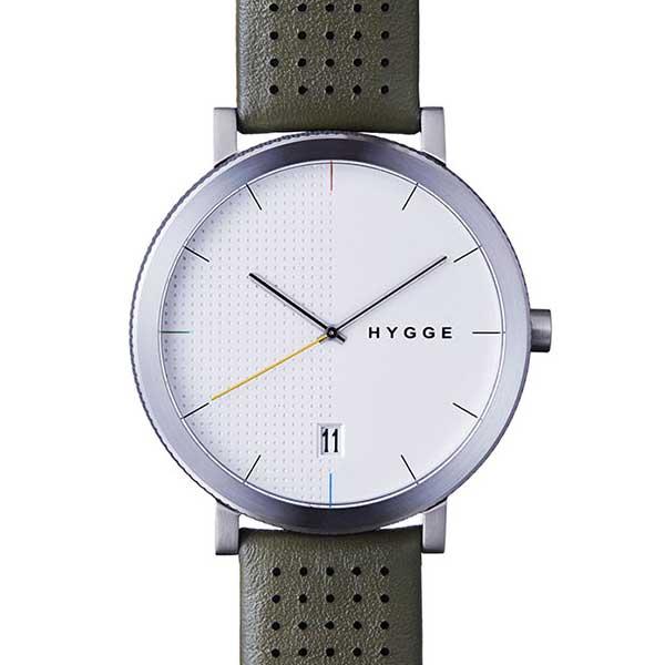 ヒュッゲ HYGGE 腕時計 2203 HGE020064 Khaki Leather / White Dial 【送料無料】 スカンジナビアのデザインと日本の高い技術が作り出した時計