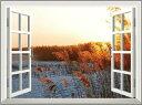 オーダーメイド 【窓 ウィンドーシリーズ防水[横長]】 高80cm x 120cm ウォール ステッカー ポスター シール 裏が透けない 自然 はがせる 壁紙 壁シール |お風呂 風景 はがせる壁紙 壁