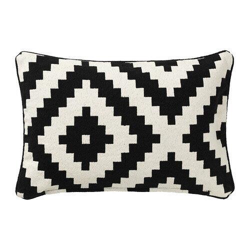 IKEA イケア LAPPLJUNG RUTA クッションカバー ホワイト ブラック 80281893
