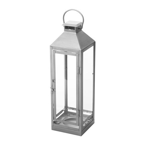 IKEA(イケア) LAGRAD ブロックキャンドル用ランタン 室内/屋外用 シルバーカラー d70327293