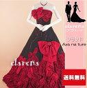 【売切れ御礼】黒地に赤いリボン・花・煌きライン装飾カラードレス 11号(CLC4135)【中