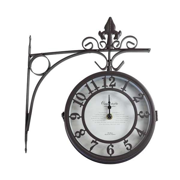 時計 アンティーク調 壁掛け時計 壁掛け 掛け時計 両面時計 ガーデン時計 あす楽