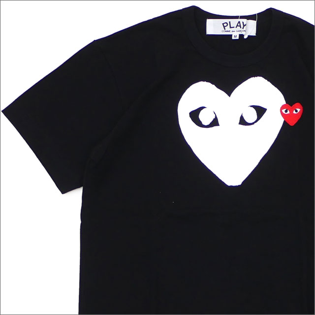 PLAY COMME des GARCONS プレイ コムデギャルソン WHITE HEART RED WAPPEN TEE Tシャツ BLACK 200007734041x【新品】 半袖Tシャツ