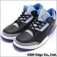 NIKE AIR JORDAN 3 RETRO BLACK/SPORT BLUE-WOLF GREY (エアジョーダン)(スニーカー)(シューズ) 136064-007 291-001586-291+【新品】