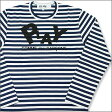 PLAY COMME des GARCONS(プレイ コムデギャルソン)ボーダーロゴ 長袖Tシャツ【新品】WHITExNAVY200-002417-030