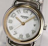 【HERMES】エルメス プルマン PU2.220 ホワイト文字盤 SS×GP コンビ ブレス クォーツ レディース腕時計 箱・余り駒付【中古】