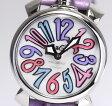 【GaGaMIRANO】ガガミラノ マヌアーレ 40 Ref.5020.7 ホワイトシェル文字盤 紫革ベルト クォーツ レディース腕時計【中古】