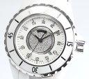 【CHANEL】 シャネル J12 H2123 白セラミック 12Pダイヤ センターダイヤ 33ミリ QZ 箱付 レディース腕時計 【中古】